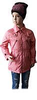 Демисезонная куртка ветровка для девочки ТМ Verscon розовая размер 92 98 104 110 116