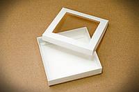 Коробка для пряника 150*150*30 БІЛИЙ мелований картон + вікно з прозорої ПВХ плівки (пластик)
