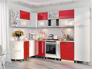 кухня модерн белый/красний перламутр