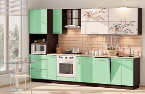 кухня модерн белый/оливковый перламутр