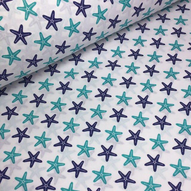 Польська бязь з морськими зірками на білому тлі 125 г/м2 №204