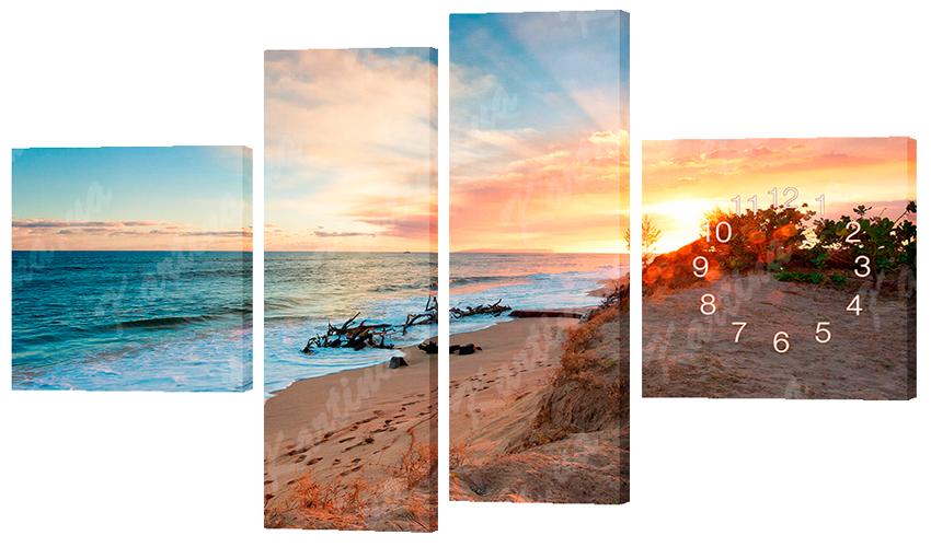 Часы-модульная картина 380 пляж (170x100 см)