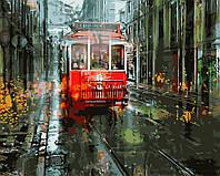 """GX 3691 """"Городской трамвай"""" Роспись по номерам на холсте (без коробки) 40х50см"""