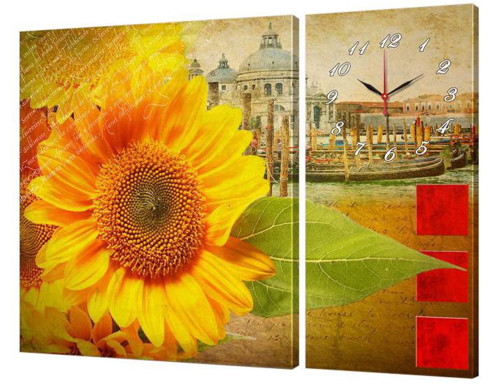 Часы-модульная картина 264 Подсолнух (130x95 см)
