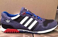 Кроссовки мужские Adidas кожаные натуральные кожа/замша черные, синие AD0032