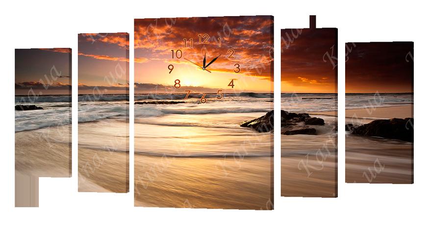 Часы-модульная картина 415 морской закат (139x70 см)