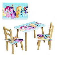 """Столик и два стульчика деревянные """"My Little Pony"""" арт. 096 (080)"""