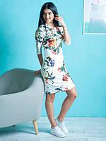 Молодежное летнее платье Флора с цветочным узором белого цвета