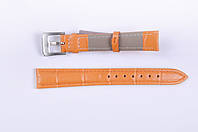 Кожаный ремешок для часов оранжевый, 14мм