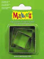 Каттер Makin's Мейкинс металлический для работы с полимерной глиной, Квадрат, 3шт.