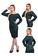 """Женская кофта """"хулиганка"""", на одно плечо зеленая (изумрудный, бутылочный)"""