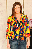 Женский короткий яркий пиджак с рукавом в 3/4 на одной пуговице