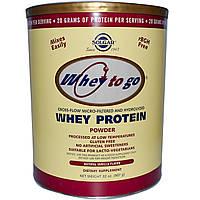 Solgar, Whey To Go, Сывороточный Протеин в Порошке, Натуральный Вкус Ванили 32 унции (907 г), купить, цена, отзывы