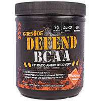 """Grenade, """"Защита BCAA"""", комплекс аминокислот с разветвленными боковыми цепями (BCAA), со вкусом клубники и манго, 13,76 унций (390 г), купить, цена,"""