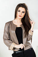 Молодежный укороченный пиджак из эко-кожи (2 цвета)