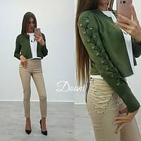 Молодежный короткий пиджак из замши со шнуровкой на рукавах (два цвета)