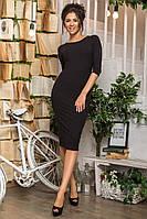 Женское трикотажное платье футляр черное, фото 1
