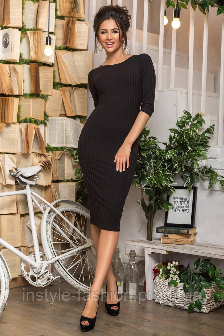Женское трикотажное платье футляр черное
