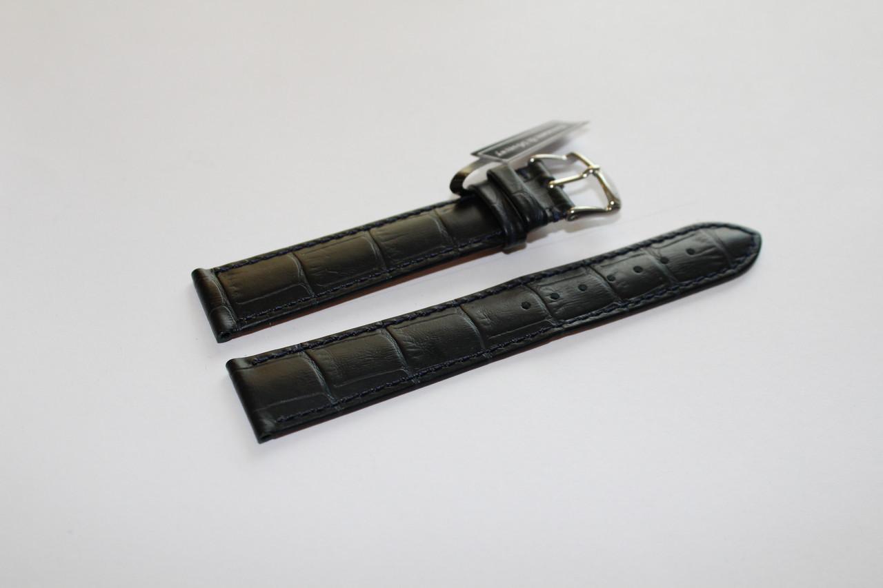 Кожаный ремень Bennett&Murray-ремень из натуральной кожи синий под крокодил 20 мм