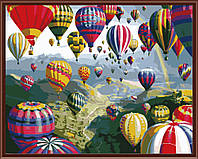 """GX 6524  """"Воздушные шары""""  Роспись по номерам на холсте 40х50см без коробки, в пакете"""