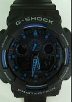 Часы CASIO G-Shock 100 качество ААА черные с синим
