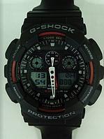 Часы CASIO G-Shock 100 качество ААА черные с красным