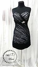 Коктейльное вечернее платье черно-белое