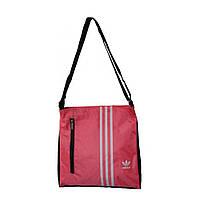 Спортивная сумка-барсетка маленькая розовая с черной отделкой