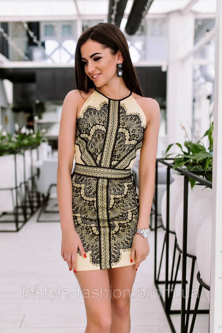 Женское красивое платье с кружевом ткань микро дайвинг цвет желтый