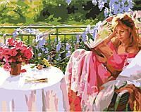 """GX 7195 """"Девушка с книгой""""  Картина по номерам на холсте 40х50см без коробки, в пакете"""