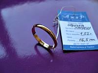 Весільна обручка 16.5 розмір 1.52 грама Золото 585 проби