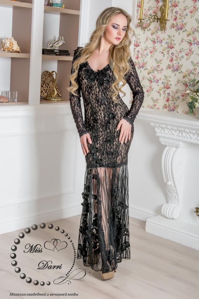 Вечернее платье с прозрачными ножками и рукавами
