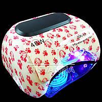 УФ LED+CCFL лампа Professional nail для гель-лаков и геля 48W с таймером 10, 30 и 60 сек. (red dogs)