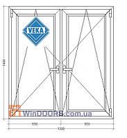 Окно металлопластиковое (Века) Veka Euroline, 5-этажка Хрущевка 1300х1400 мм