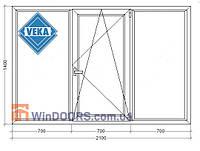 "Окно металлопластиковое (Века) Veka Euroline, 5-этажка ""Хрущевка"" 2100х1400 мм"