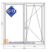 "Окно металлопластиковое (Века) Veka Euroline,9-ти 12-ти этажка ""Чешка""1510х1550 мм"