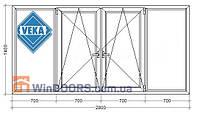 "Балконная рама ПВХ (Века) Veka Euroline 9-ти, 12-ти этажка ""Чешка"". Косой балкон 3000х1400 мм"