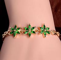Позолоченный браслет с зелеными камнями код 1100