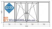 "Балконная рама ПВХ (Века) Veka Euroline 9-ти, 12-ти этажка ""Чешка"". Прямой балкон 3000х1400 мм"