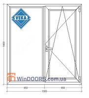 "Окно металлопластиковое (Века) Veka Рroline 70 мм, 5-этажка ""Хрущевка"" 1300х1400 мм"