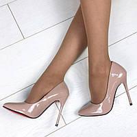Туфли-лодочки классические лаковые на красной бежевые, туфли лаковые классические на каблуке 11см Новинка
