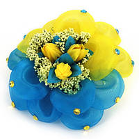 Бант жовто-блакитний 9 см