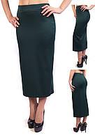 Удлиненная женская юбка карандаш из французского трикотажа зеленая (изумрудный, бутылочный), фото 1