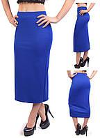 Удлиненная женская юбка карандаш из французского трикотажа, синий электрик, фото 1