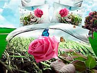 Постельное белье Палитра, сатин панно 3Д (фотопринт) 100%хлопок - семейный комплект