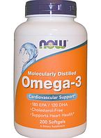 Now Foods, Омега-3, Omega 3, 200 мягких желатиновых капсул