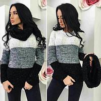 Женский свитер со снудом (2 расцветки)