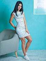 Коктейльное женское платье Киара с цветочным узором небесно-голубое