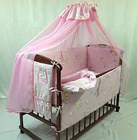 """Фирменный комплект постельного белья 9 предметов """"Мишки с пчелками мелкие"""" розовый"""