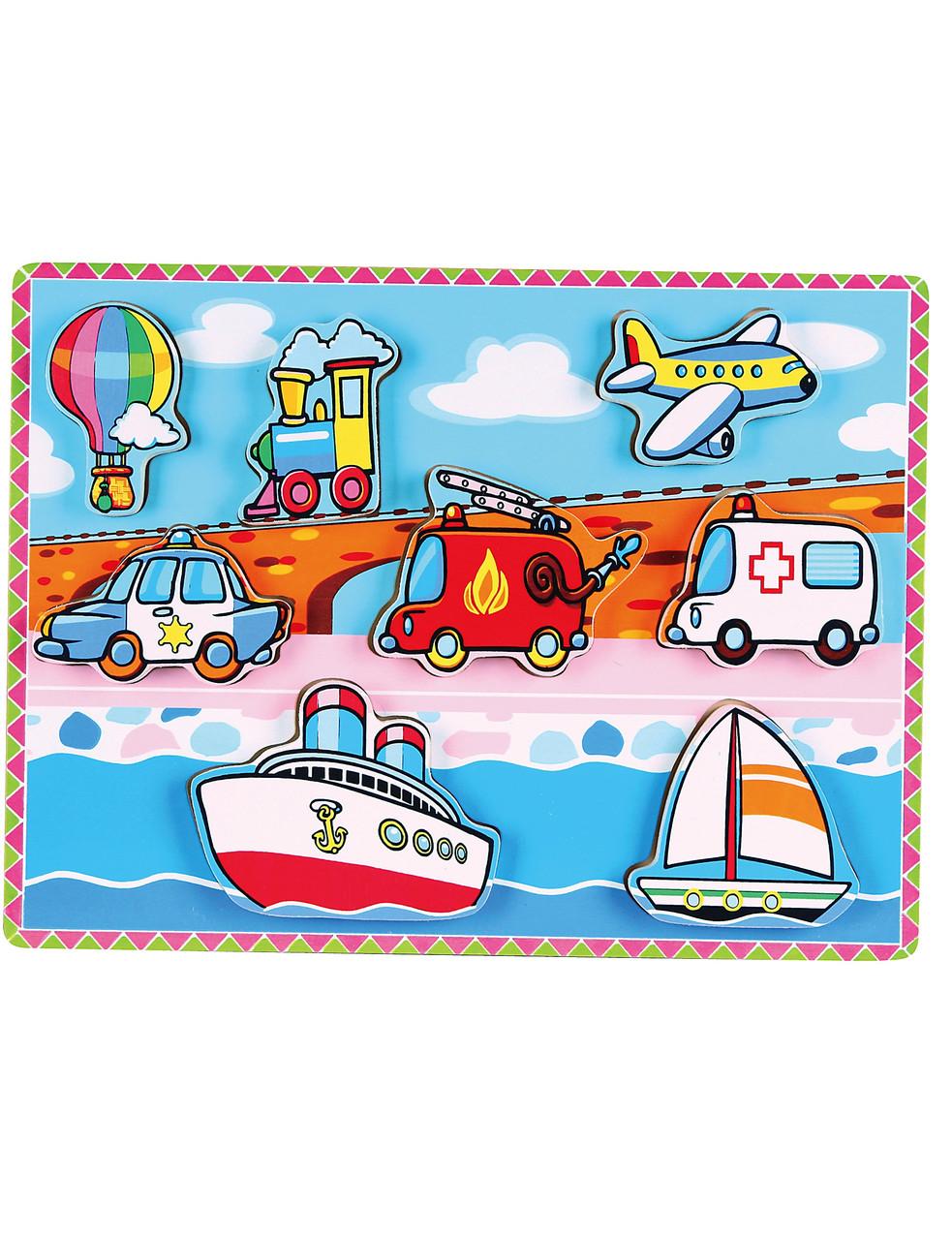 Розвиваючі і повчальні іграшки «Viga Toys» (56436) рамка-вкладиш Транспорт